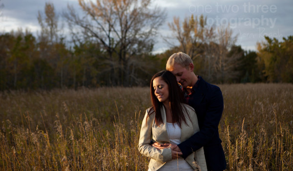 James and Kristen during golden hour on a beautiful fall evening