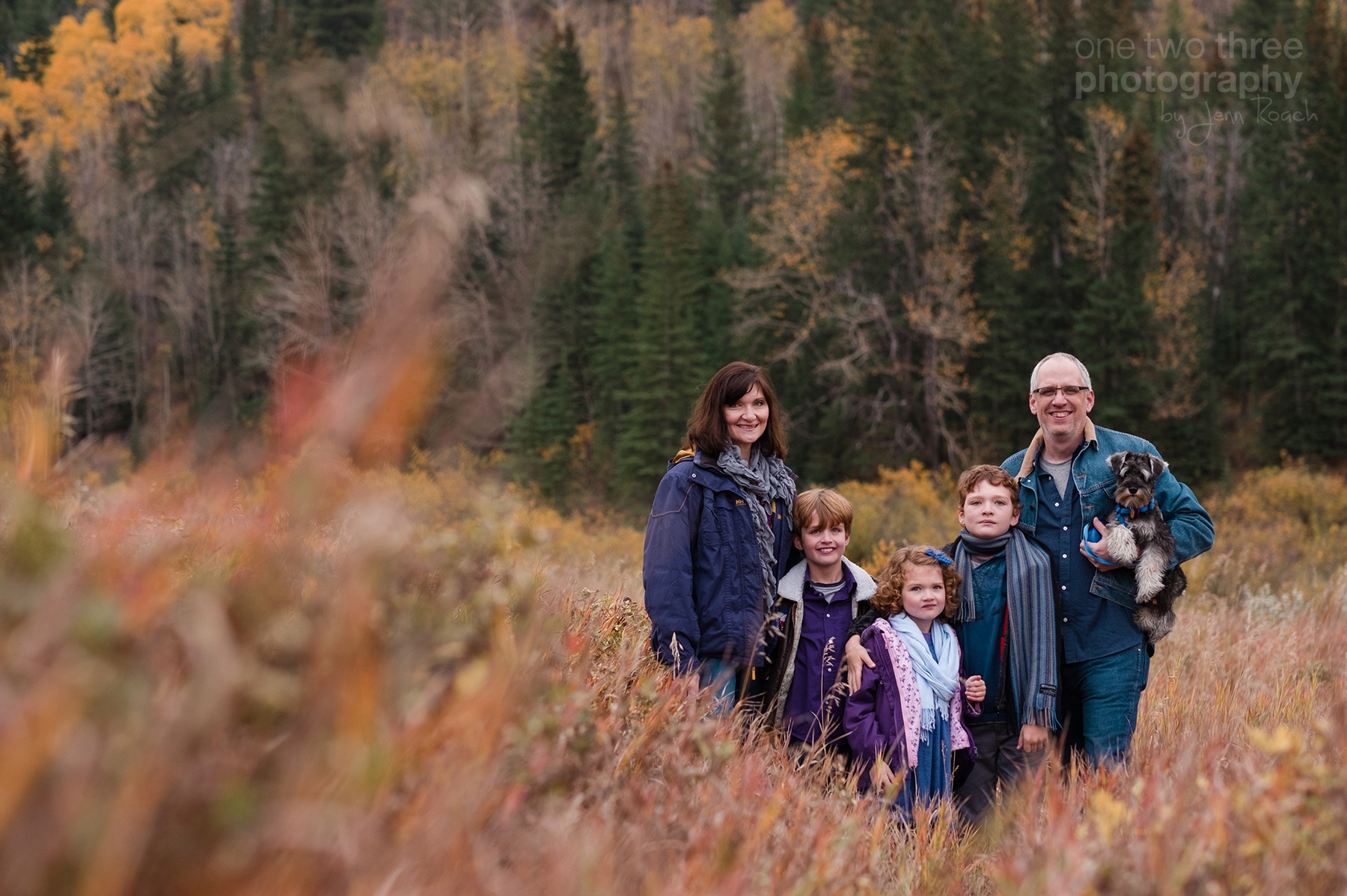 A Cochrane family in the fall during a family photo session