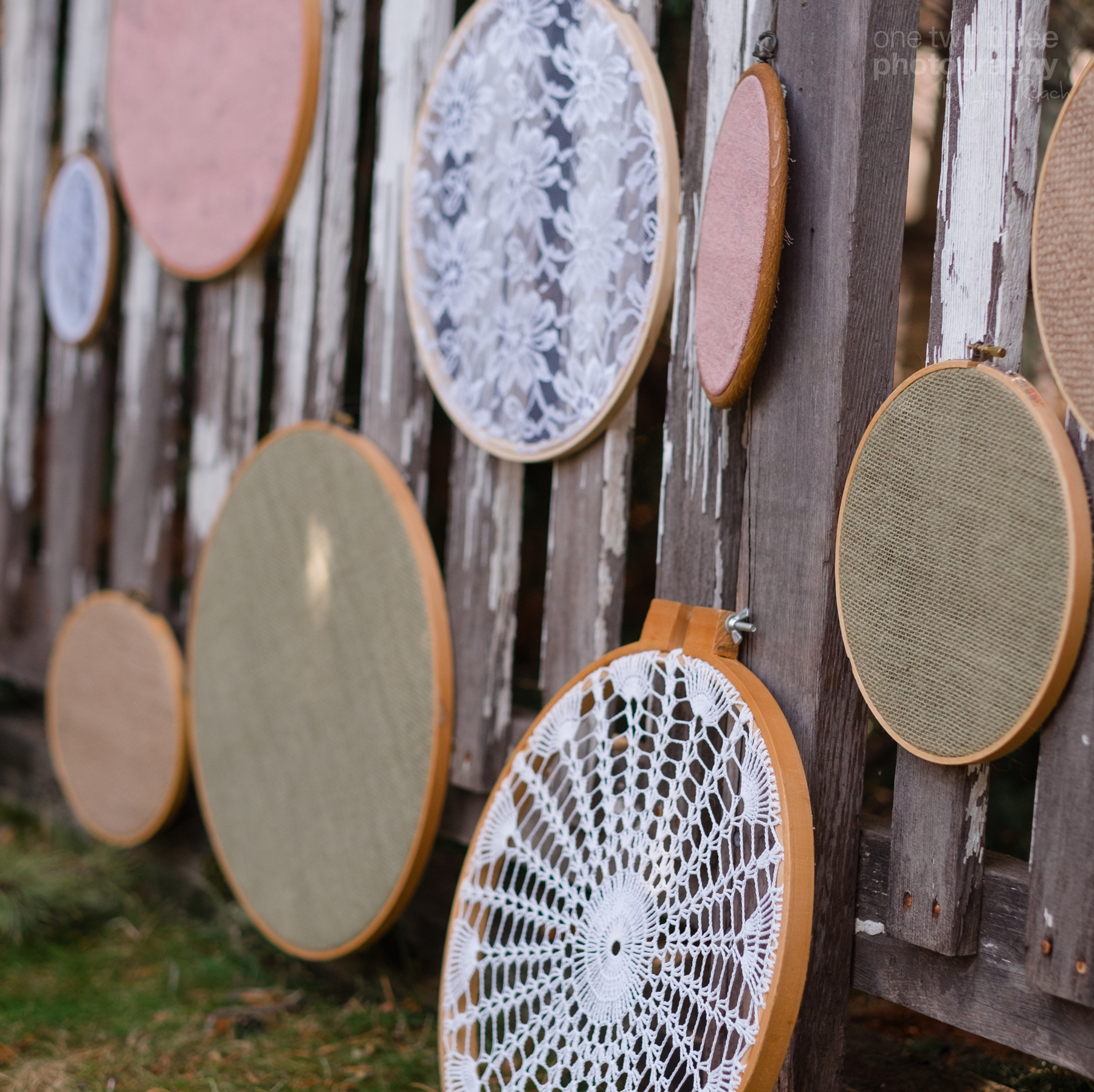 Lace and burlap inspired decor