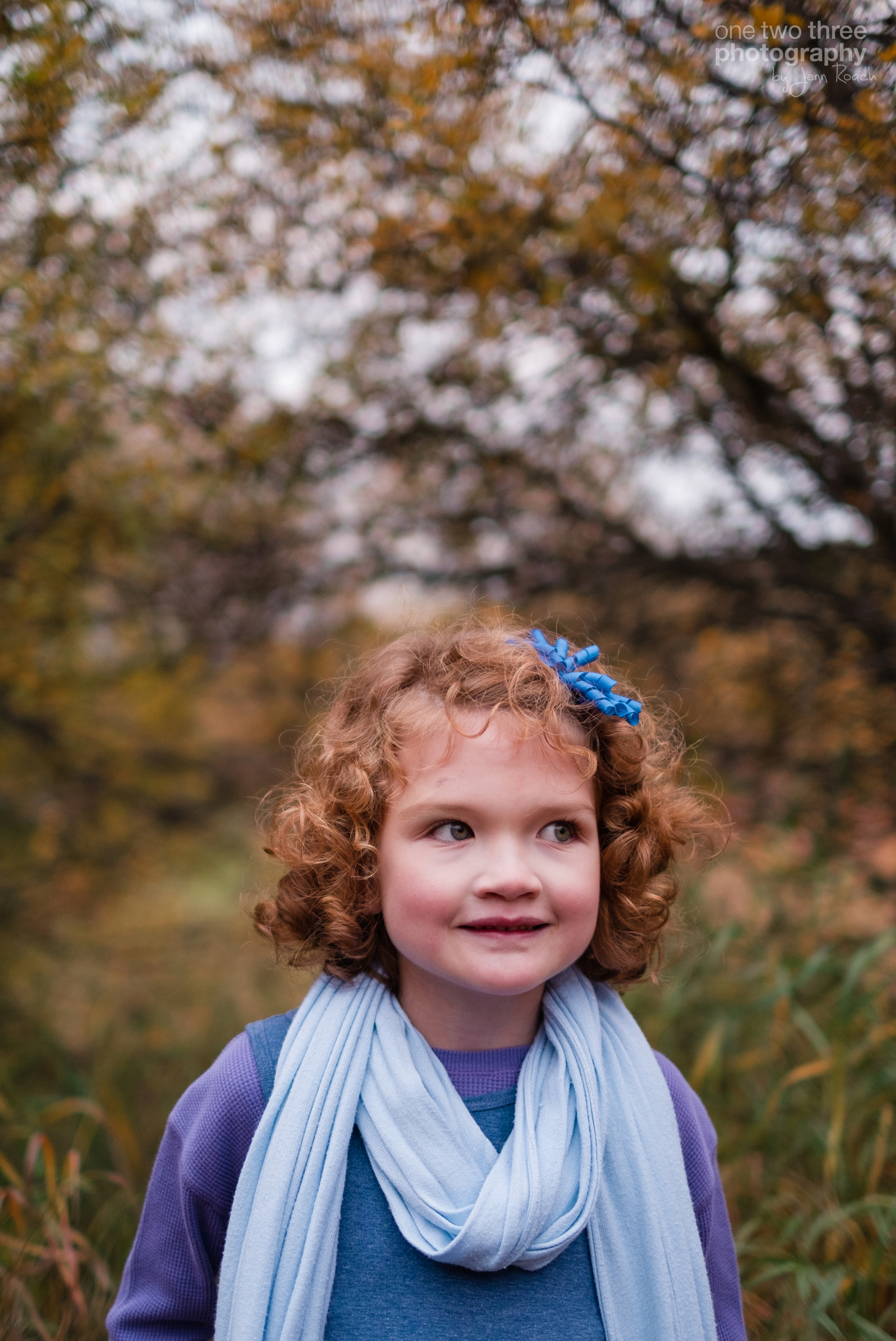 Portrait of young girl during Cochrane family fall photo session