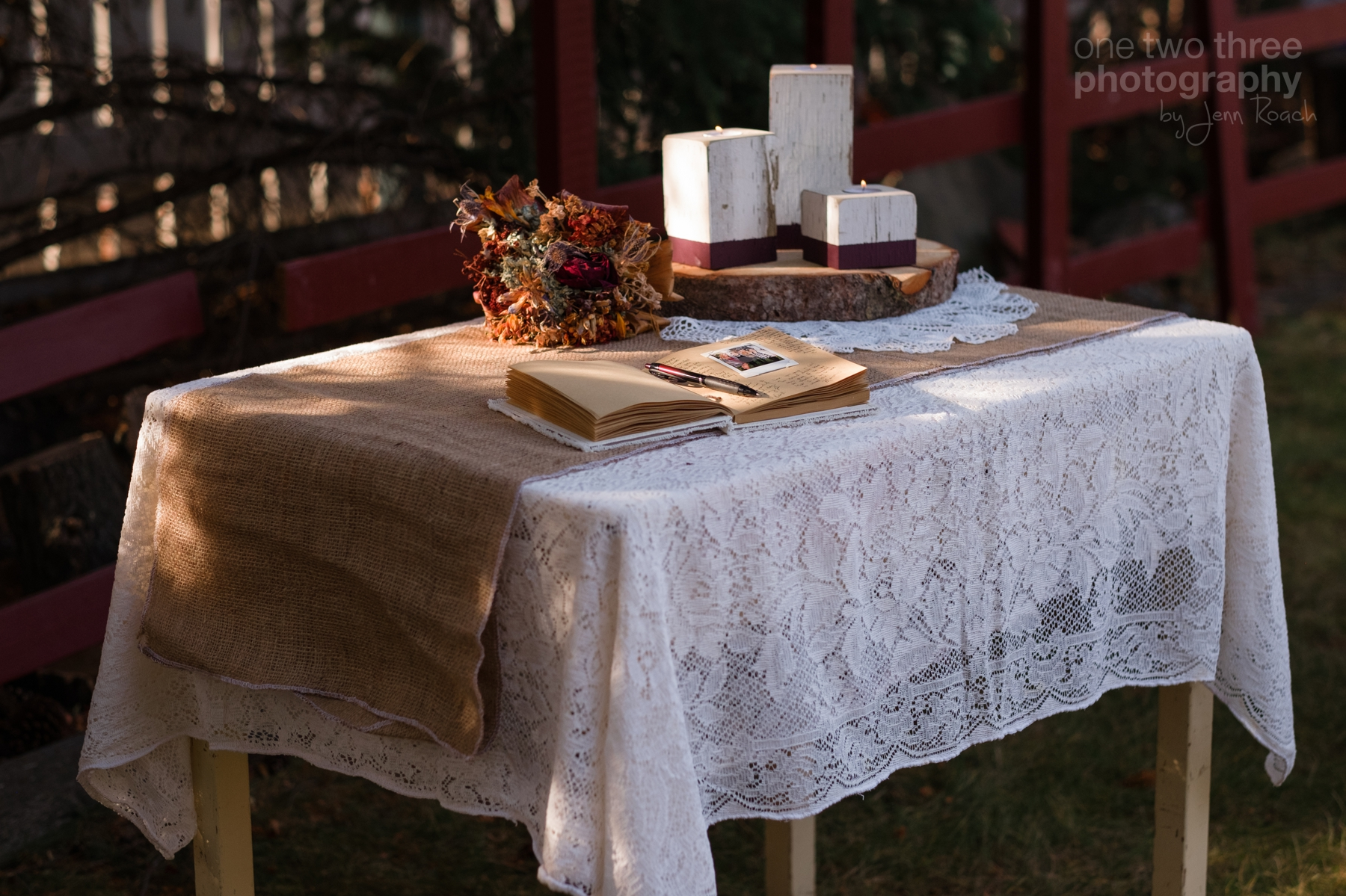 Rustic guest table signing book ideas