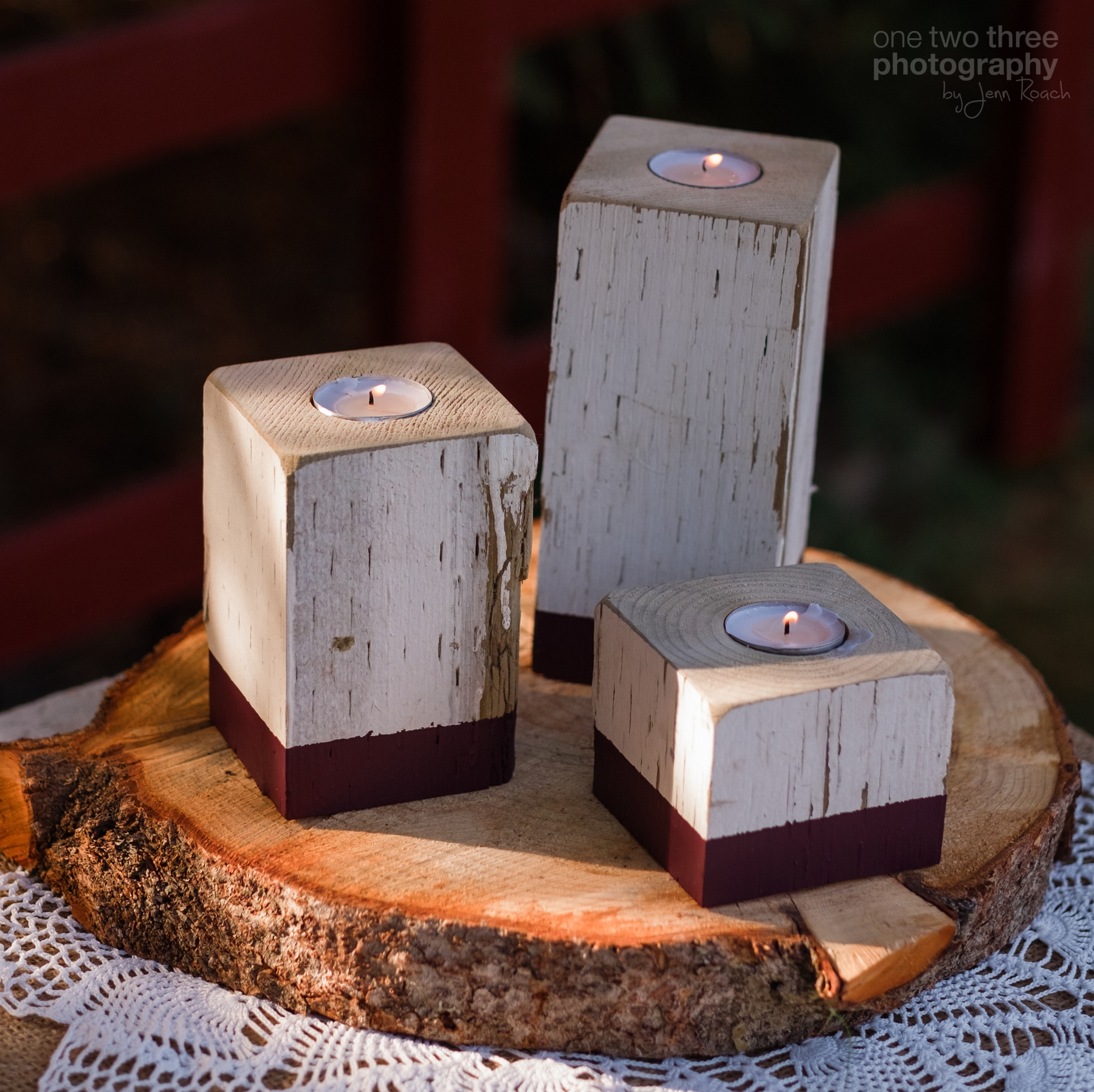 Rustic recycled and reclaimed tea light candleholders