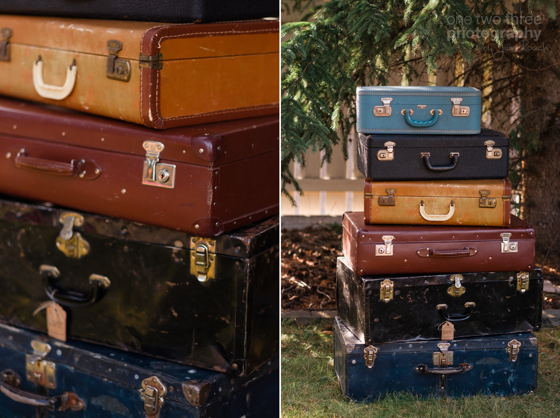 Stack of old vintage suitcases used as decor