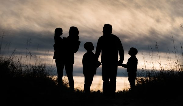 Family fall silhouette in Carburn Park